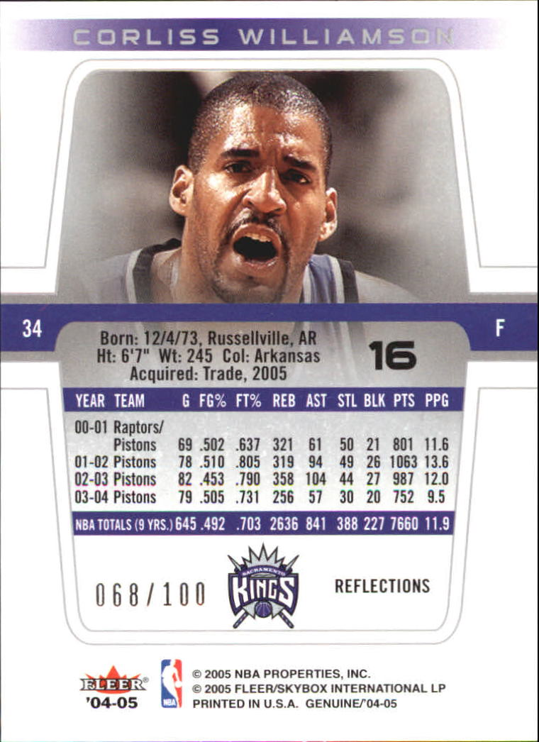 2004-05 Fleer Genuine 100 #16 Corliss Williamson back image