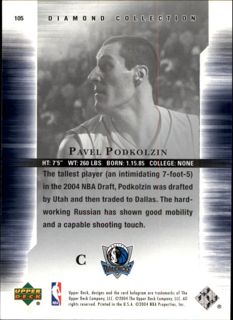 2004-05 Upper Deck All-Star Lineup #105 Pavel Podkolzin RC back image