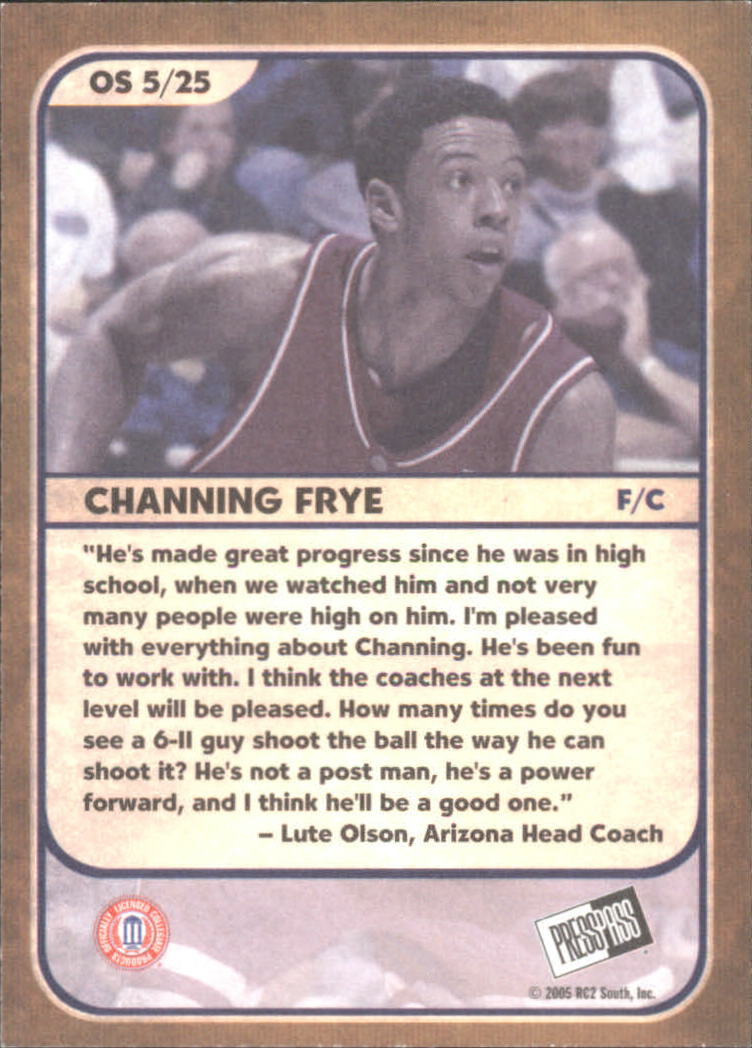 2005 Press Pass Old School #5 Channing Frye back image