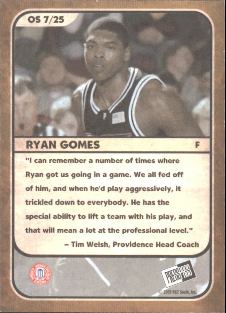 2005 Press Pass Old School #7 Ryan Gomes back image
