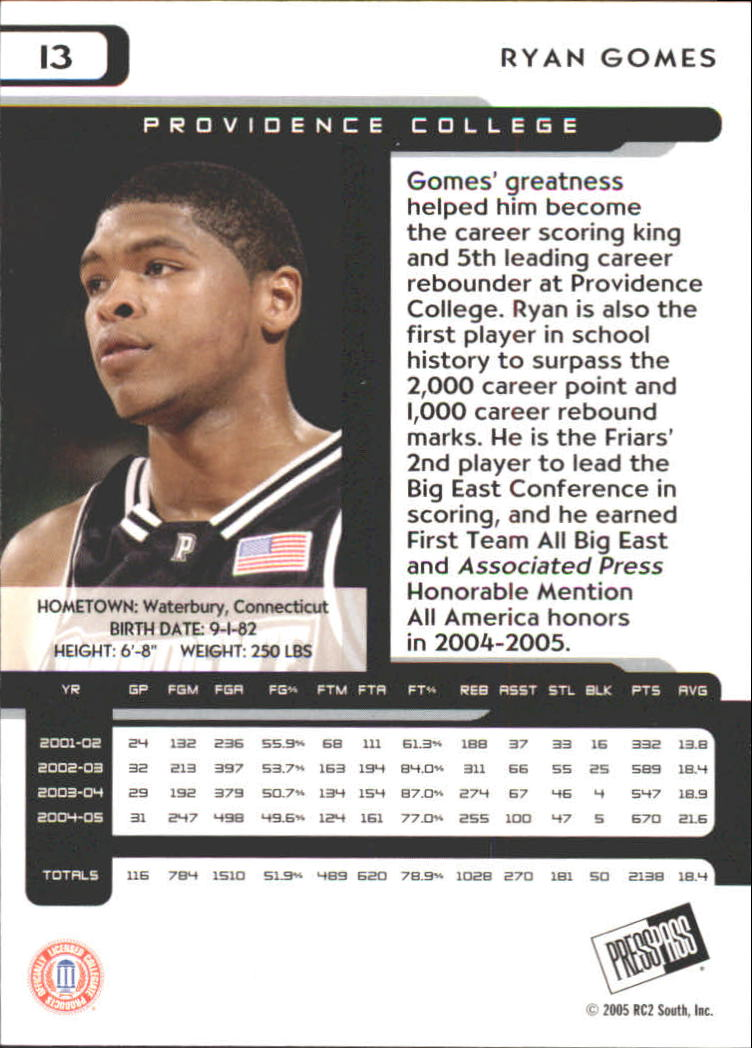 2005 Press Pass #13 Ryan Gomes back image