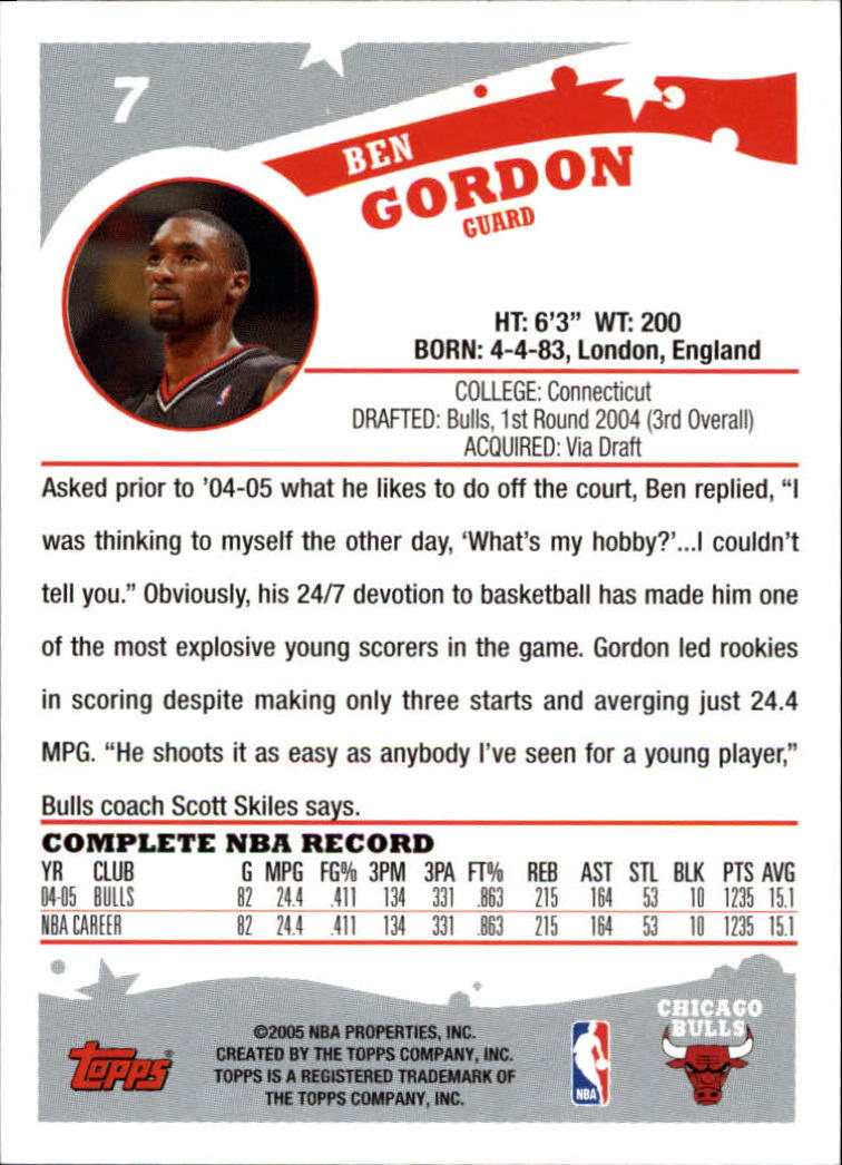 2005-06 Topps #7 Ben Gordon back image