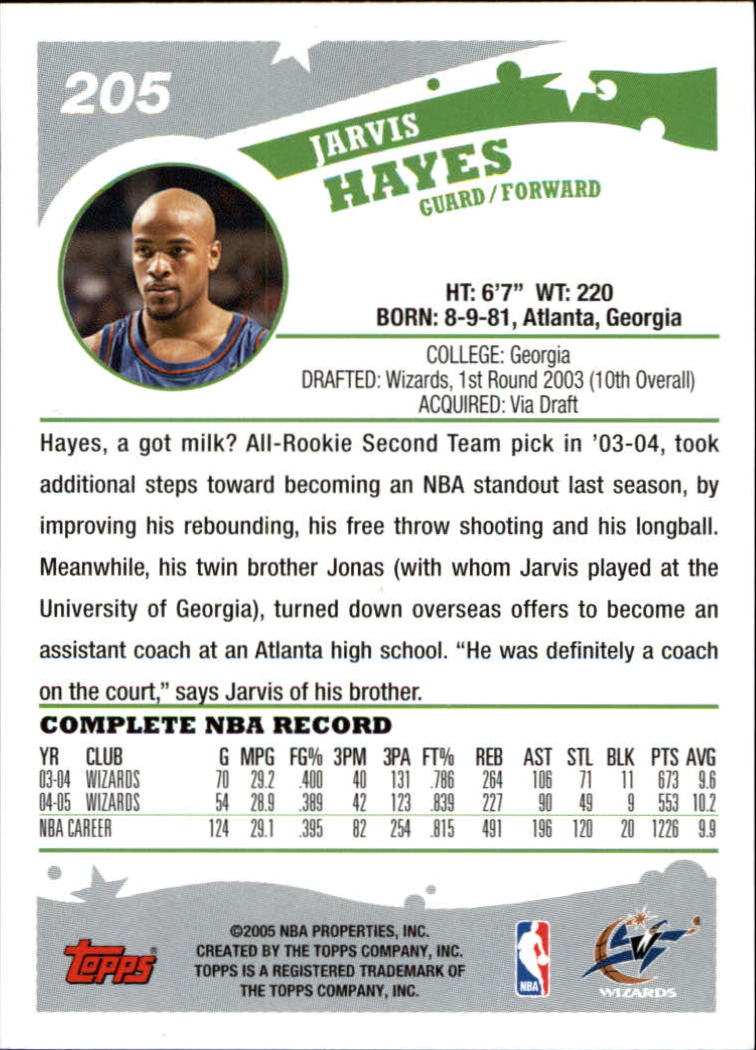 2005-06 Topps #205 Jarvis Hayes back image