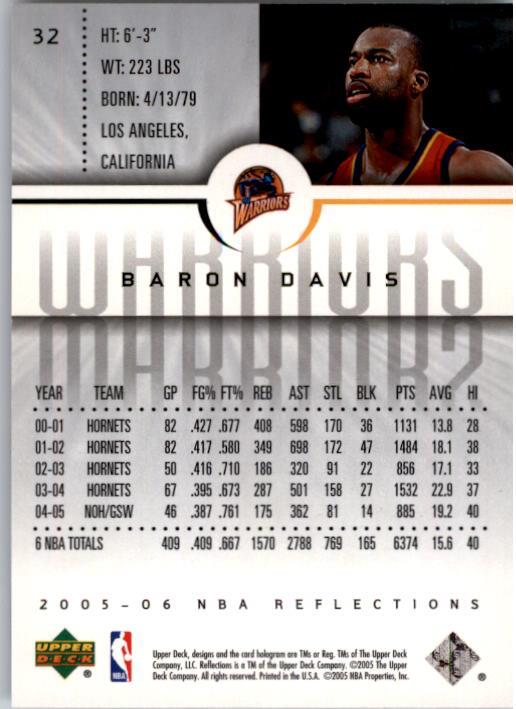 2005-06 Reflections #32 Baron Davis back image