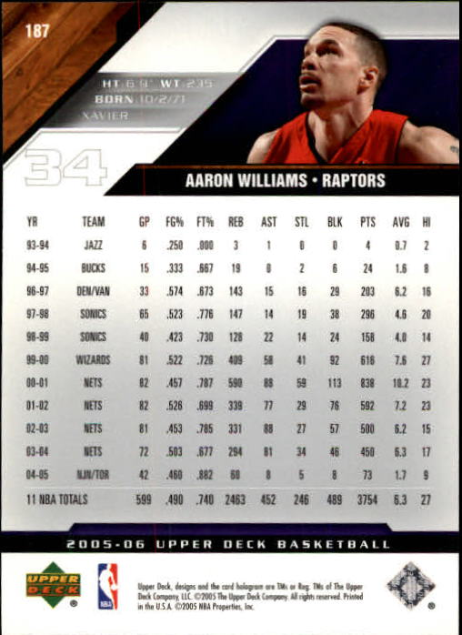 2005-06 Upper Deck #187 Aaron Williams