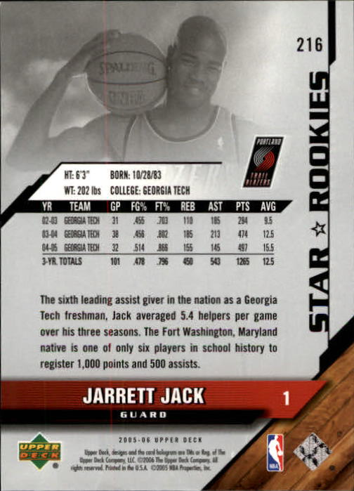 2005-06 Upper Deck #216 Jarrett Jack RC back image