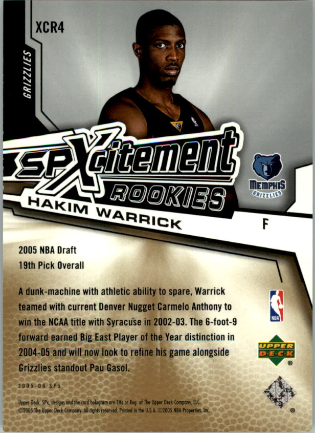 2005-06 SPx SPxcitement Rookies #XCR4 Hakim Warrick back image