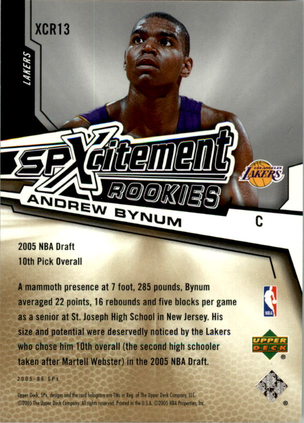 2005-06 SPx SPxcitement Rookies #XCR13 Andrew Bynum back image