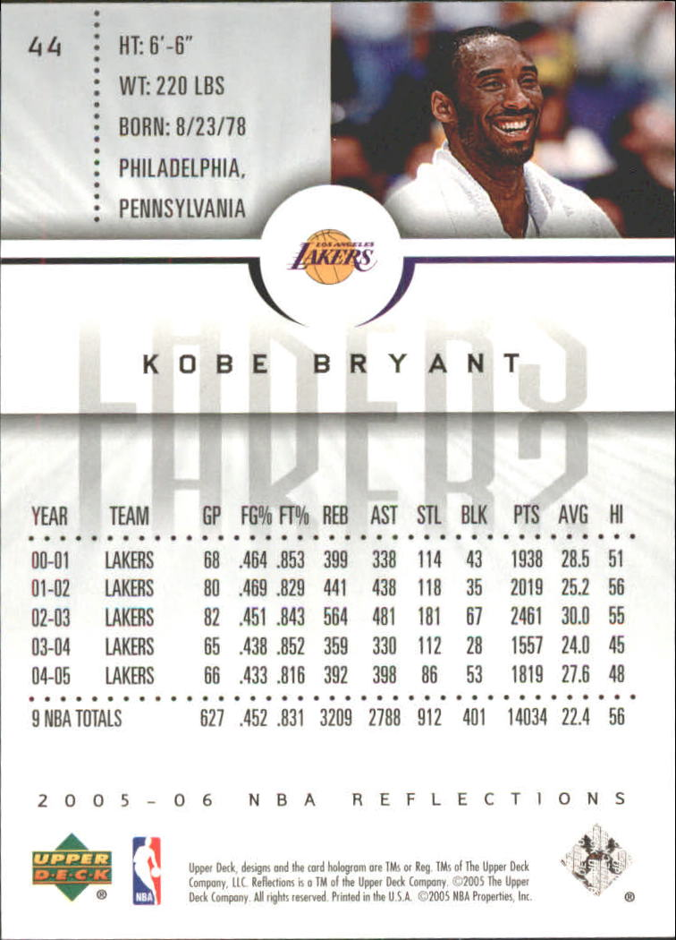 2005-06 Reflections Purple #44 Kobe Bryant back image
