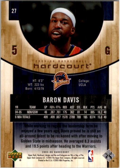 2005-06 Upper Deck Hardcourt #27 Baron Davis back image