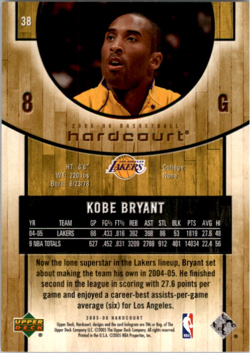 2005-06 Upper Deck Hardcourt #38 Kobe Bryant back image