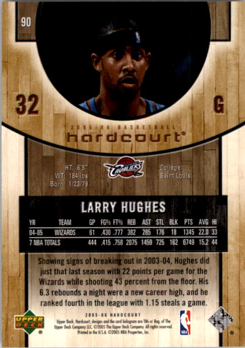 2005-06 Upper Deck Hardcourt #90 Larry Hughes back image