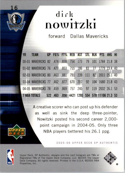 2005-06 SP Authentic #16 Dirk Nowitzki back image