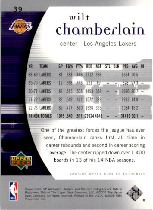 2005-06 SP Authentic #39 Wilt Chamberlain back image