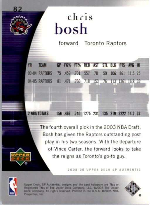 2005-06 SP Authentic #82 Chris Bosh back image