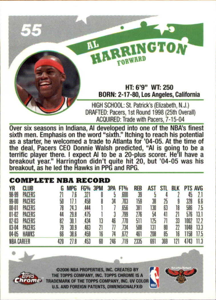 2005-06 Topps Chrome #55 Al Harrington back image