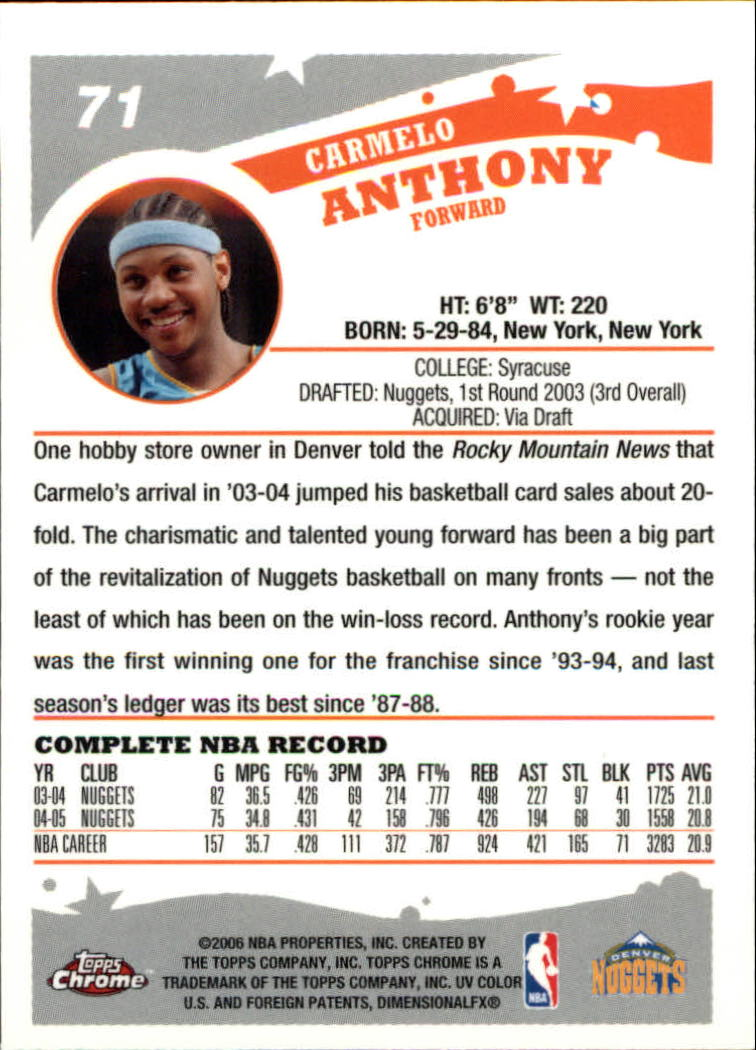 2005-06 Topps Chrome #71 Carmelo Anthony back image