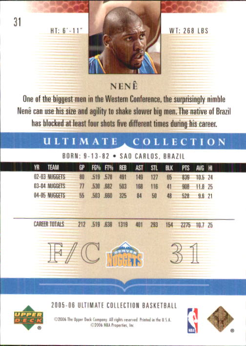 2005-06 Ultimate Collection #31 Nene back image