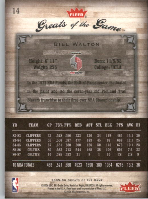 2005-06 Greats of the Game #14 Bill Walton back image