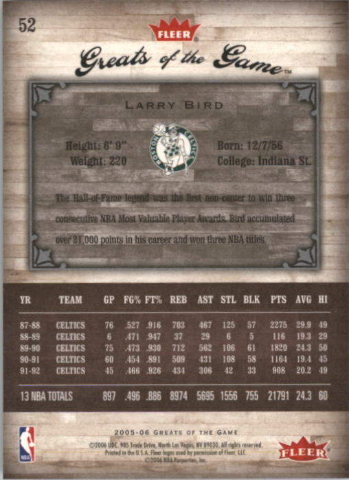 2005-06 Greats of the Game #52 Larry Bird back image