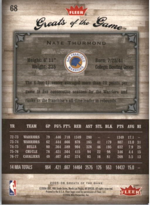 2005-06 Greats of the Game #68 Nate Thurmond