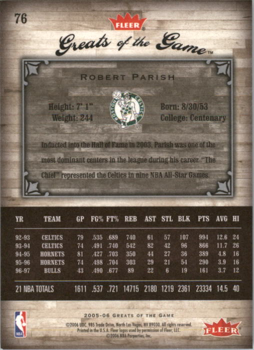 2005-06 Greats of the Game #76 Robert Parish back image
