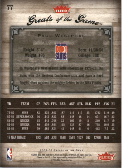 2005-06 Greats of the Game #77 Paul Westphal back image