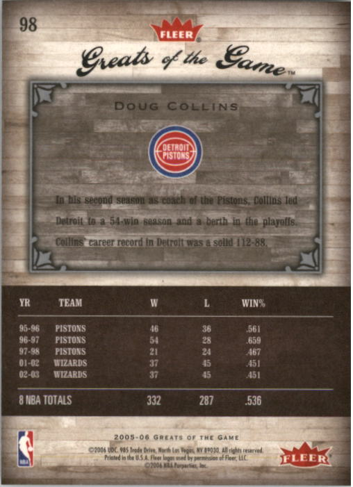 2005-06 Greats of the Game #98 Doug Collins CC