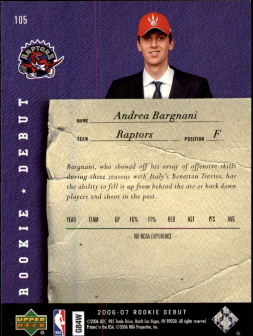 2006-07 Upper Deck Rookie Debut #105 Andrea Bargnani RC back image