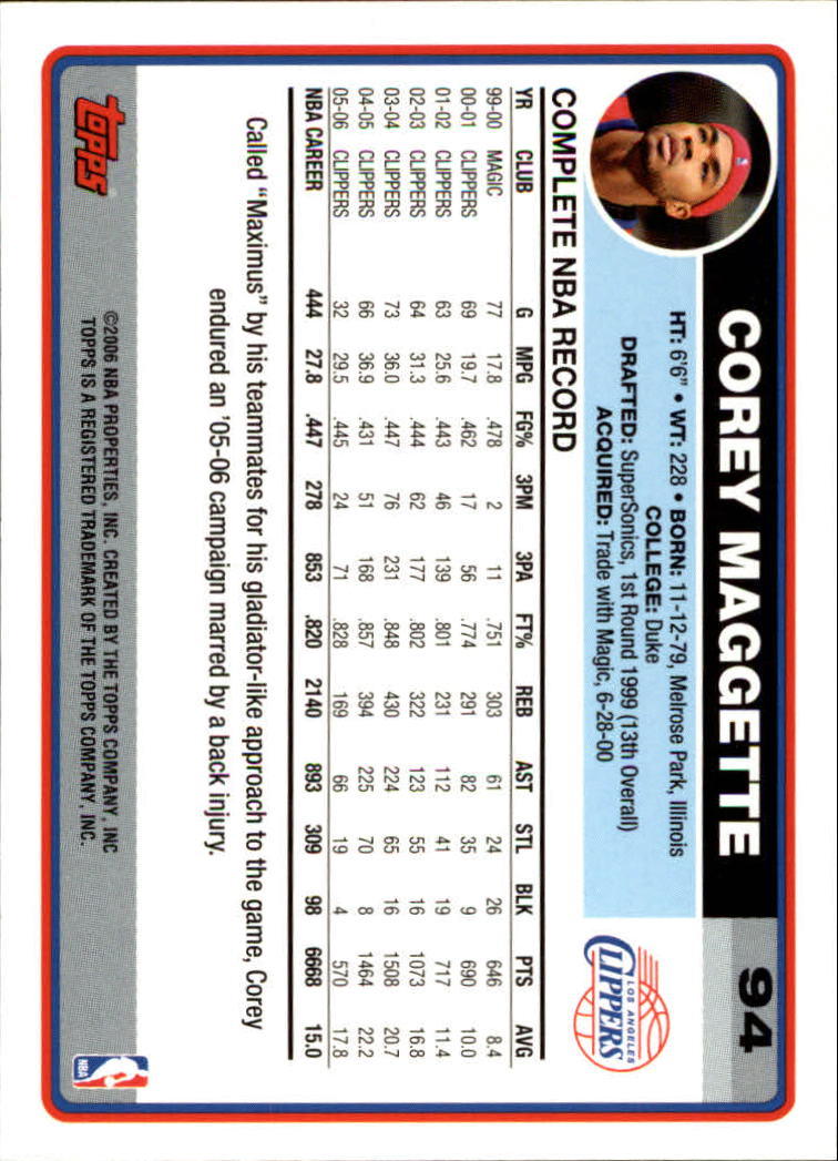2006-07 Topps #94 Corey Maggette back image