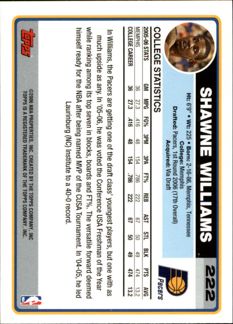 2006-07 Topps #222 Shawne Williams RC back image