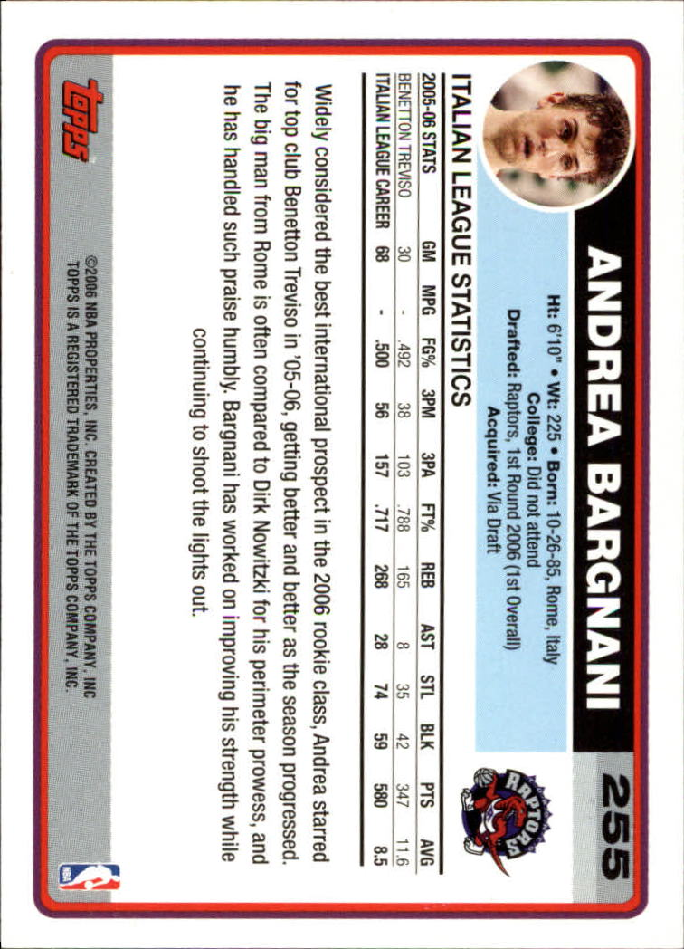 2006-07 Topps #255A Andrea Bargnani RC back image