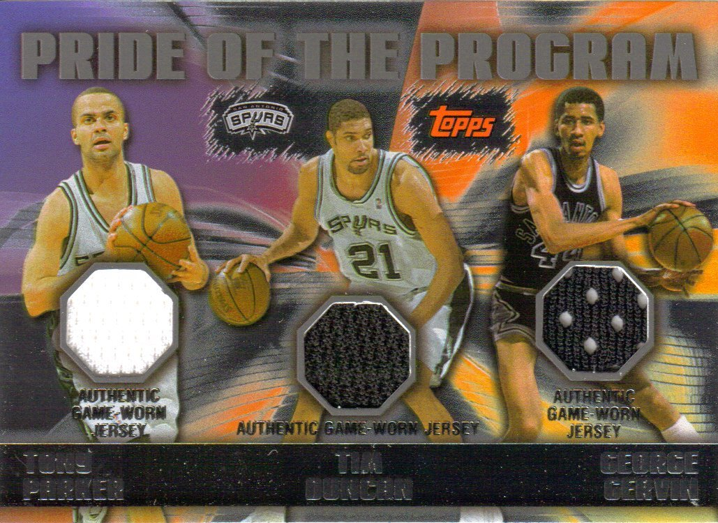 2006-07 Topps Pride of the Program Relics #PDG Tony Parker/Tim Duncan/George Gervin