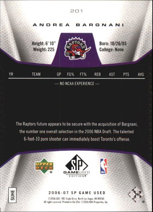 2006-07 SP Game Used #201 Andrea Bargnani RC back image