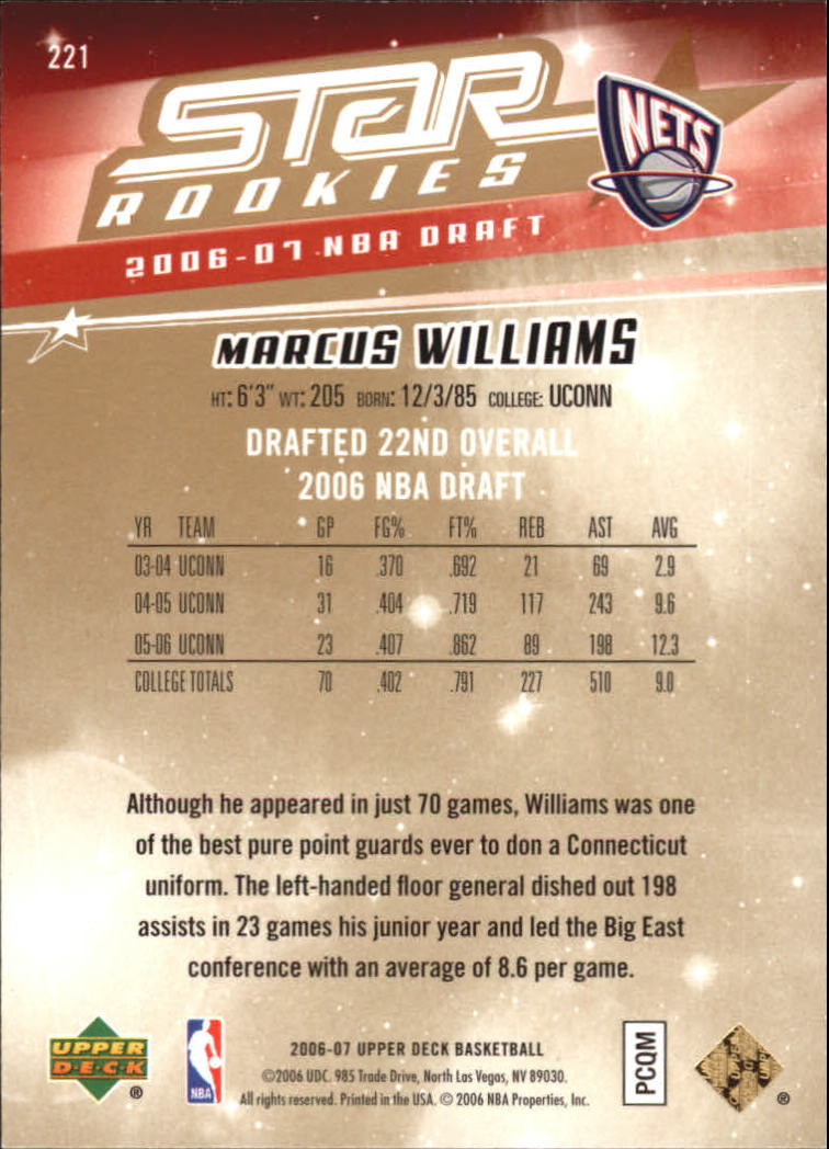 2006-07 Upper Deck Star Rookies Hot Pack #221 Marcus Williams back image