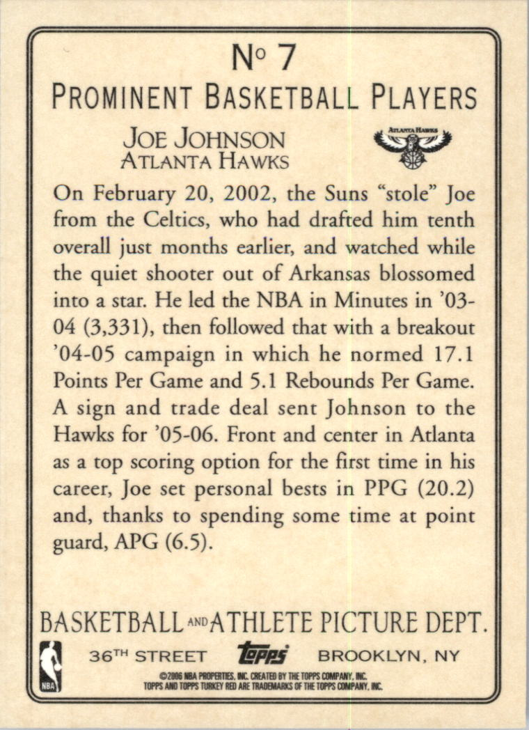 2006-07 Topps Turkey Red #7 Joe Johnson back image