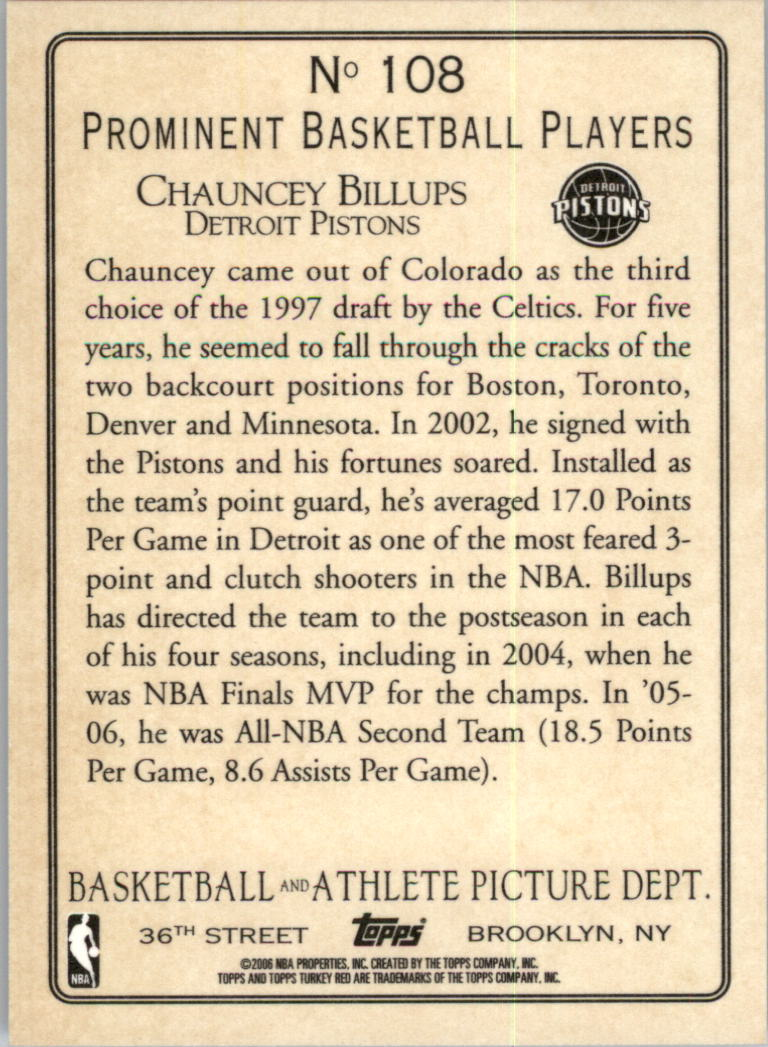 2006-07 Topps Turkey Red #108 Chauncey Billups back image