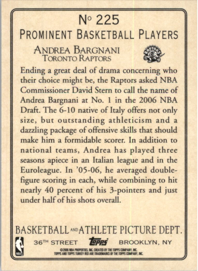 2006-07 Topps Turkey Red #225 Andrea Bargnani RC back image