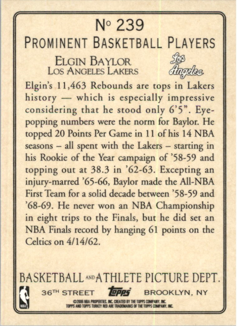 2006-07 Topps Turkey Red #239 Elgin Baylor back image