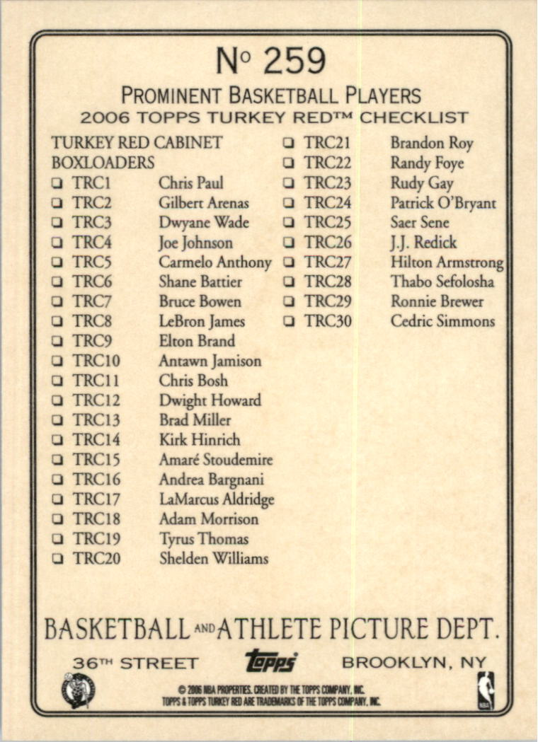2006-07 Topps Turkey Red #259 Larry Bird CL back image