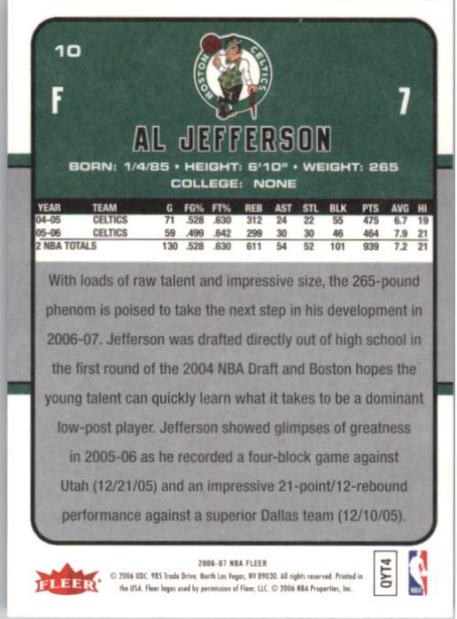 2006-07 Fleer #10 Al Jefferson