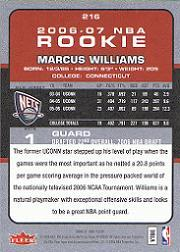 2006-07 Fleer #216 Marcus Williams RC back image