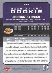 2006-07 Fleer #220 Jordan Farmar RC back image