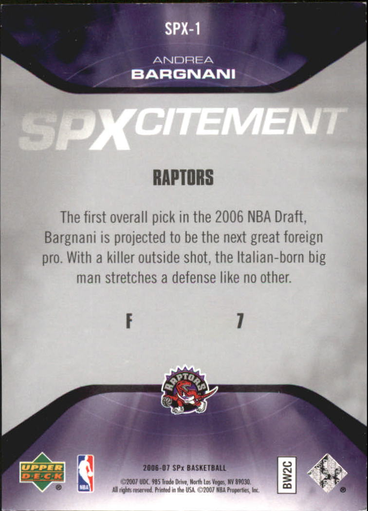 2006-07 SPx SPxcitement #SPX1 Andrea Bargnani back image