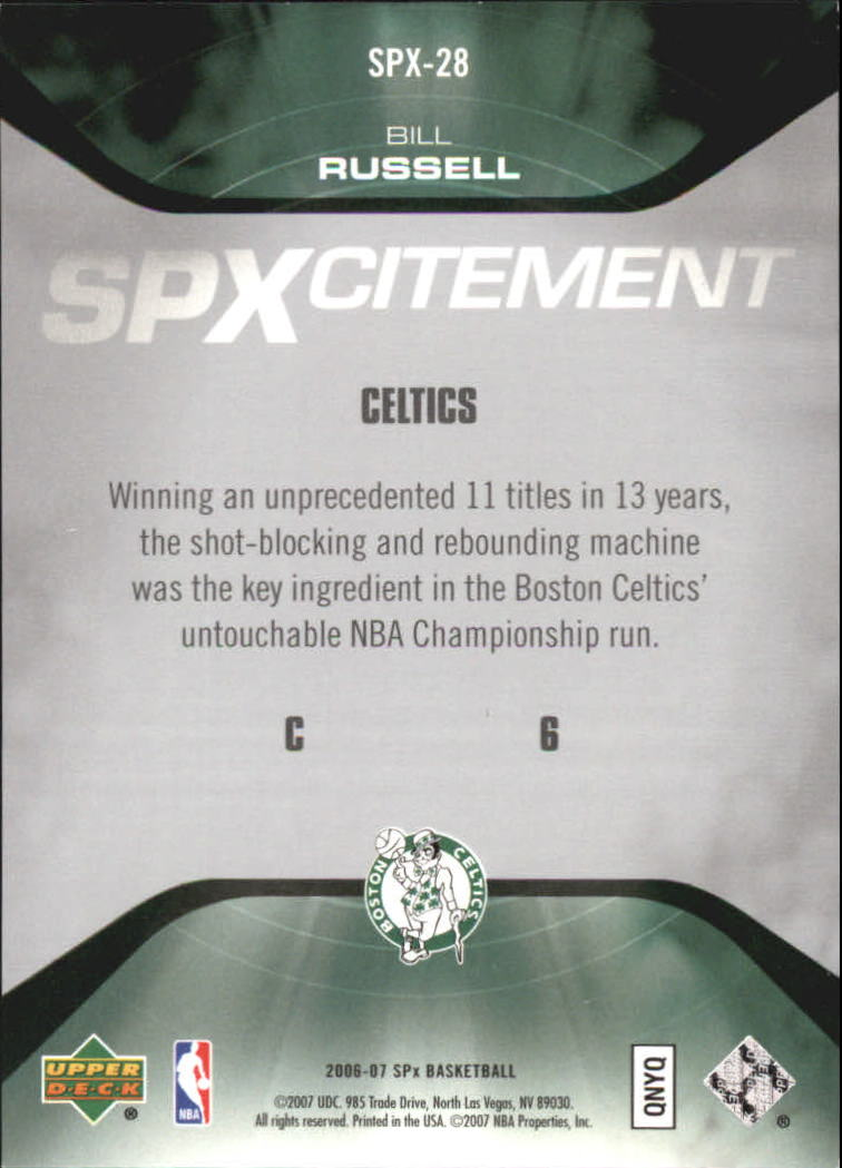 2006-07 SPx SPxcitement #SPX28 Bill Russell
