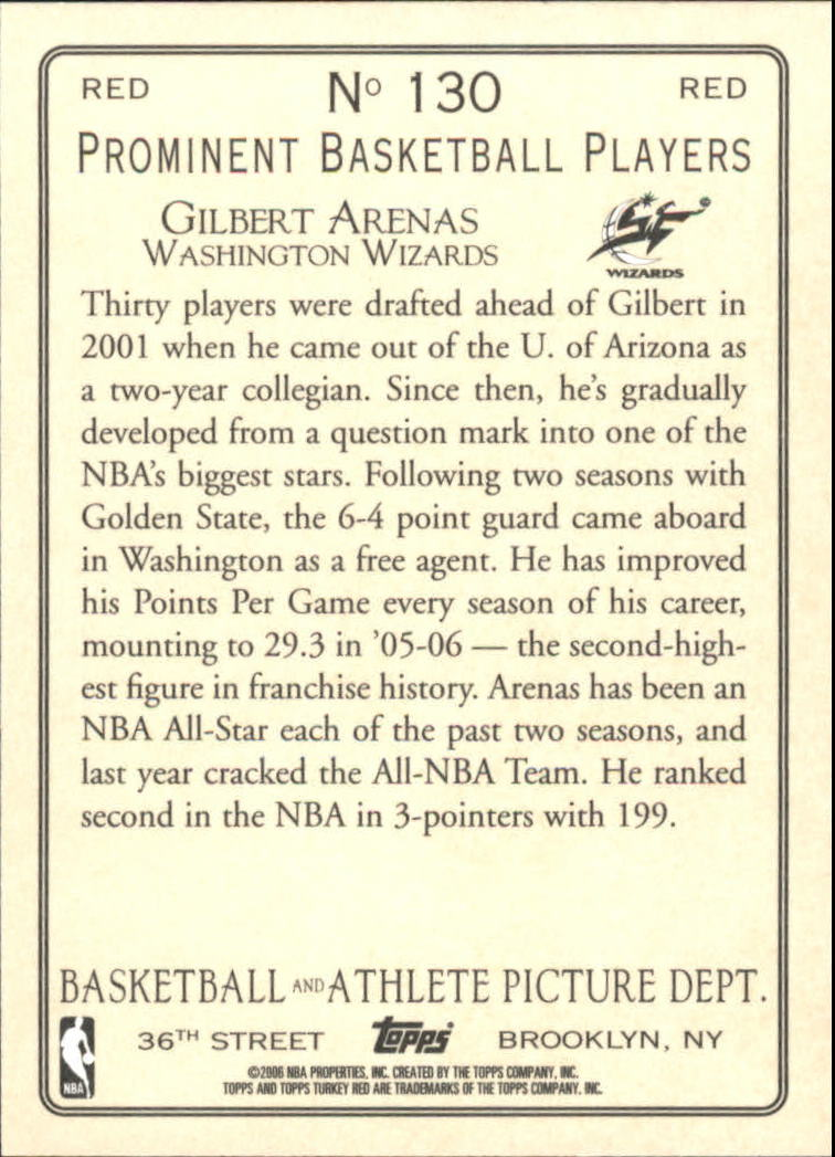 2006-07 Topps Turkey Red Red #130 Gilbert Arenas back image