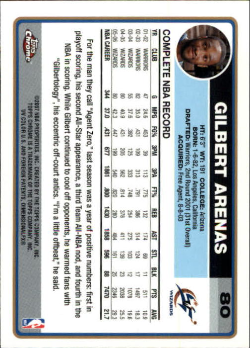 2006-07 Topps Chrome #80 Gilbert Arenas back image