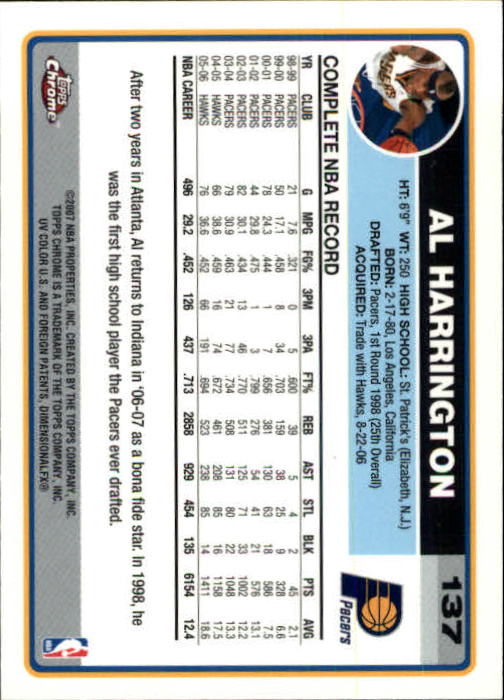 2006-07 Topps Chrome #137 Al Harrington back image