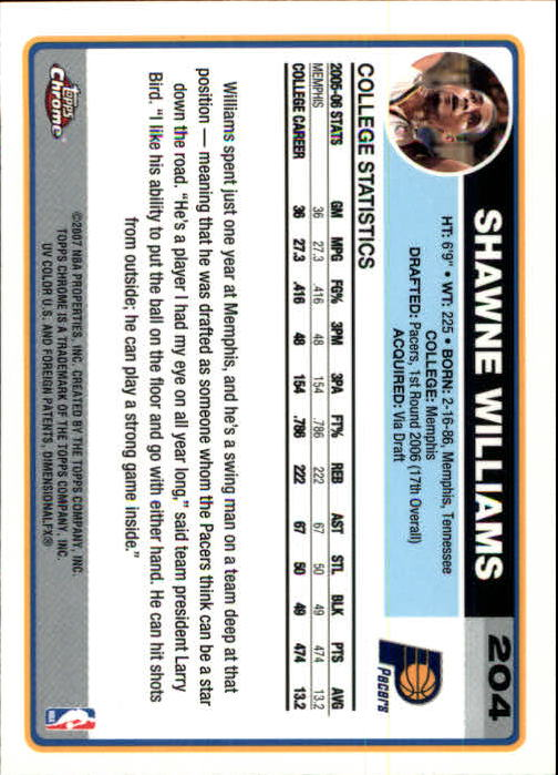 2006-07 Topps Chrome #204 Shawne Williams RC back image
