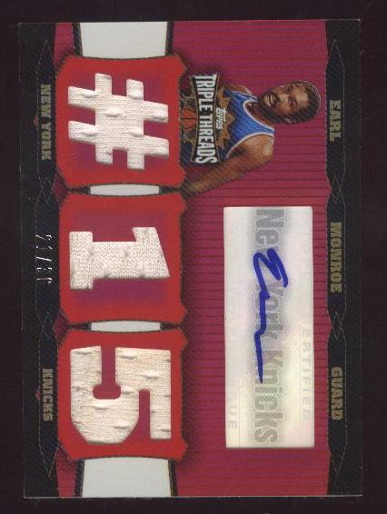 2006-07 Topps Triple Threads Relics Autographs #46 Earl Monroe #15